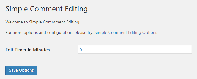 Simple Comment Editing Settings